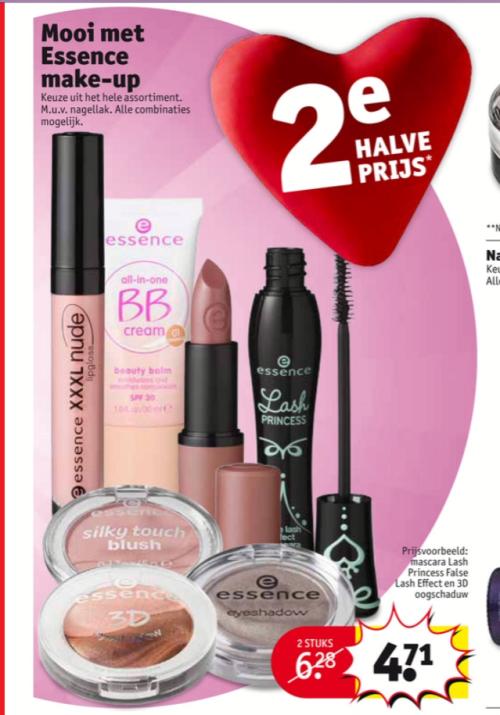 Álle Essence make-up, tweede artikel voor de halve prijs. Wees er snel bij, dit gaat altijd héél vlug. Voor je het weet is het hele Essence schap leeg. Ik spreek uit ervaring ;)