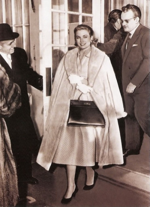 Grace Kelly stepping out, 1950s.