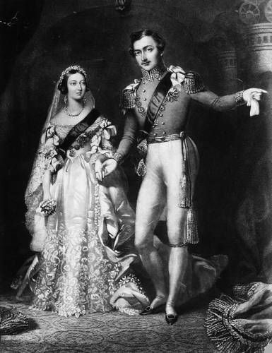 De trouwfoto van koningin Victoria en prins Albert, 11 februari 1840. Victoria droeg een wit satijnen trouwjurk.