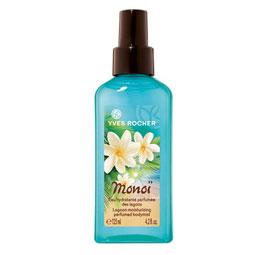 Een weldadige bodyspray met de onweerstaanbare geur van vakantie ! Sluit je ogen en je waant je direct op een Tahitiaans palmenstrand. Geniet met deze bodyspray van een overweldigende waterval van frisheid en het exotische parfum van Monoï. De spray is verrijkt met hydraterende, biologische aloë vera. Dankzij de fijne verstuiver wordt de intensief hydraterende formule op de huid verneveld. De huid voelt zacht en soepel aan en ruikt heerlijk. De zachte formule zonder alcohol geeft echt een verfrissend effect en kan op ieder moment van de dag gebruikt worden. Bijvoorbeeld als je terugkomt van een heerlijk dagje aan het strand! Pluspunt : De zachte formule bevat geen alcohol. Gewoon lekker opsrayen in de zon dus! Plantaardig bestanddeel : aloë-veragel uit biologische teelt. Bevat geen parabenen of kleurstoffen. Kunnen jullie je het artikel dat ik vorig jaar schreef over body splashes nog herinneren? Dit is mijn ultieme favoriet in de zomermaanden! Meer info over body splashes? Het artikel van vorig jaar vind je