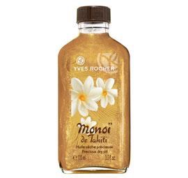 Ervaar de weldaad van Monoï de Tahiti in deze kostbare droge olie, verrijkt met fijne parelmoerdeeltjes voor een extra zonnig effect. De verrukkelijke textuur is niet vet en versmelt direct met de huid, zodat de huid gehydrateerd wordt en onweerstaanbaar exotisch ruikt.  Bovendien maakt de olie uw zongebruinde teint nog dieper en krijgen uw huid en haar een fraaie glans. +punt : de fijne parelmoerdeeltjes laten de huid subtiel glanzen. Plantaardig bestanddeel : Monoï de Tahiti. Bevat geen minerale olie of parabenen. Op zoek naar een J-Lo glow? Dit is jouw product!