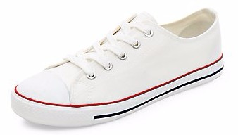 White Lace Up Striped Sole Plimsolls, €11,99.