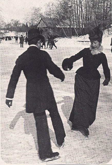 Schaatsen in Central Park, New York, 1890.