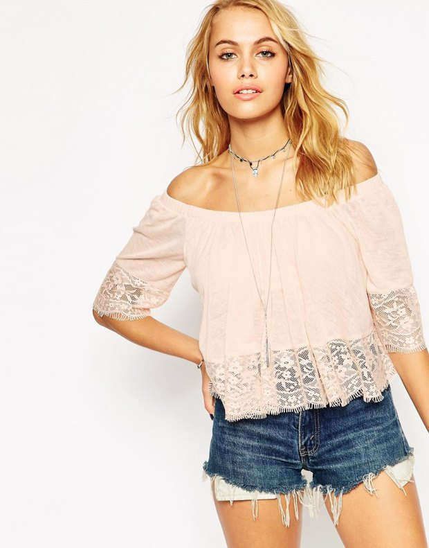 ASOS Top With Off Shoulder And Lace Trim €34.25.