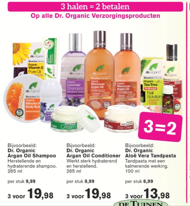 Ook bij De Tuinen haarverzorging met korting. De producten van Dr. Organic zijn perfect wanneer je op zoek bent naar haarverzorging zonder SLS, siliconen en parabenen. Nu het 3e flesje helemaal gratis! Mijn favoriet: De Vitamin E shampoo en conditioner.