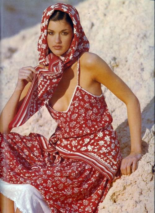 Janice Dickinson gefotografeerd door Mike Reinhardt voor Vogue Parijs, 1977.