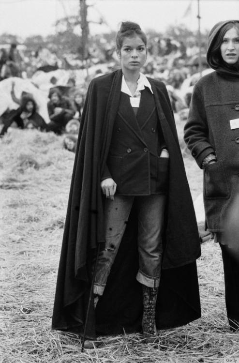 Bianca Jagger op het Bardney Pop Festival, 1972.